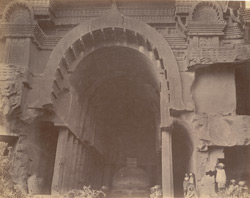 Exterior view of large Buddhist Chaitya Hall (Cave XII), Bhaja Caves, Pune District